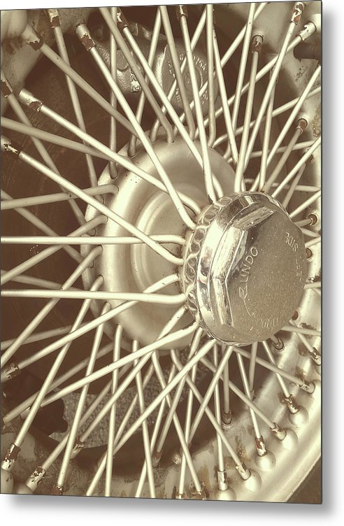 Spokes of Vintage Car Wheel - Metal Print from Wallasso - The Wall Art Superstore