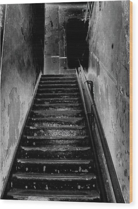 Spooky Abandoned Staircase - Wood Print from Wallasso - The Wall Art Superstore