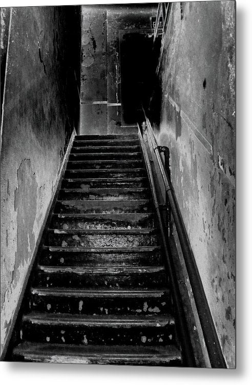 Spooky Abandoned Staircase - Metal Print from Wallasso - The Wall Art Superstore