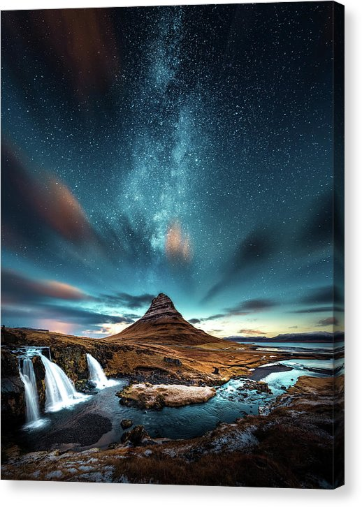 Starry Night Sky Over Mountain and Waterfall - Canvas Print from Wallasso - The Wall Art Superstore