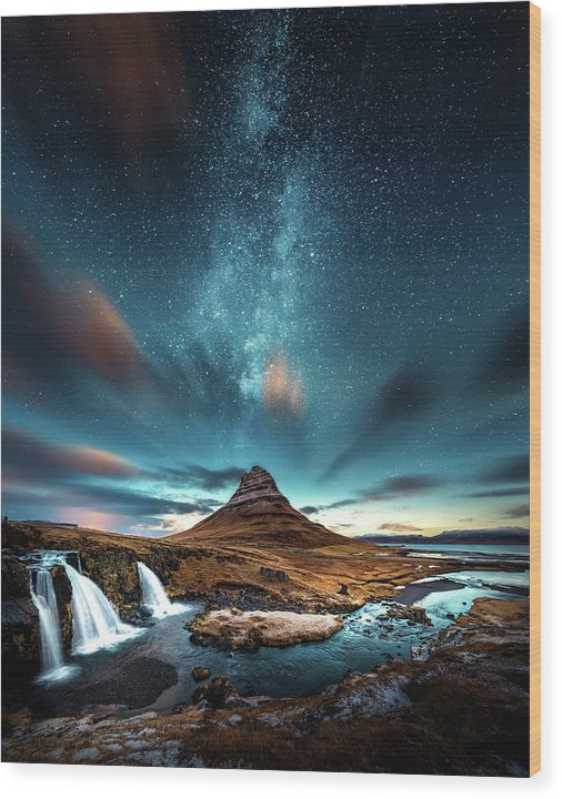 Starry Night Sky Over Mountain and Waterfall - Wood Print from Wallasso - The Wall Art Superstore