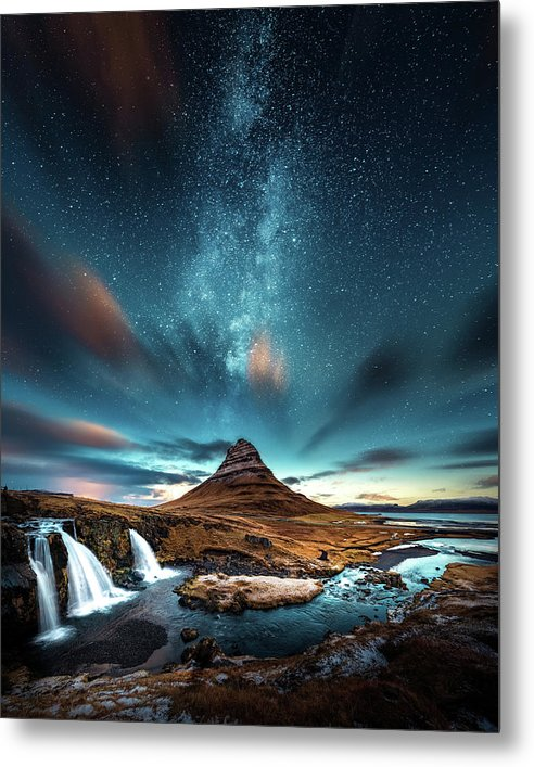 Starry Night Sky Over Mountain and Waterfall - Metal Print from Wallasso - The Wall Art Superstore