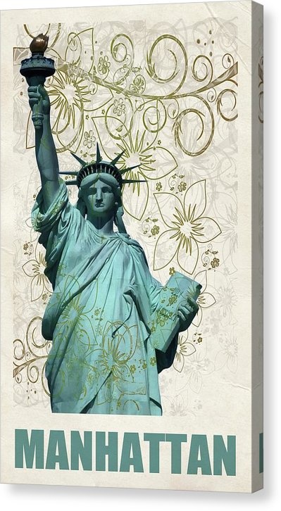 Statue of Liberty Decoupage Design - Canvas Print from Wallasso - The Wall Art Superstore