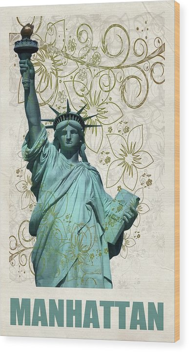 Statue of Liberty Decoupage Design - Wood Print from Wallasso - The Wall Art Superstore