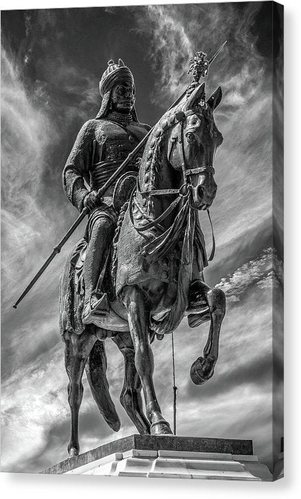Statue of Soldier With Spear Riding Horse - Canvas Print from Wallasso - The Wall Art Superstore