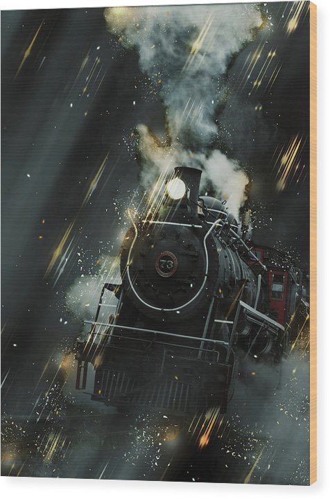 Steam Engine Railroad Design With Light Streaks - Wood Print from Wallasso - The Wall Art Superstore