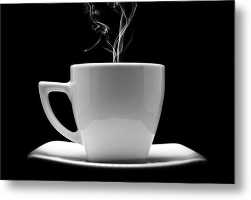 Steaming Black and White Coffee Cup - Metal Print from Wallasso - The Wall Art Superstore