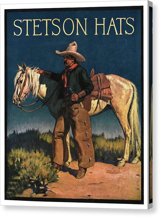 Stetson Hats Vintage Poster With Cowboy and Horse - Canvas Print from Wallasso - The Wall Art Superstore