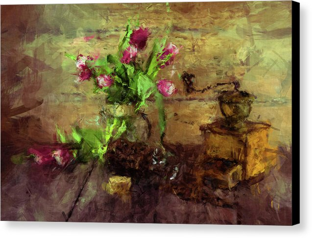 Still Life Painting of Coffee Grinder and Flowers - Canvas Print from Wallasso - The Wall Art Superstore