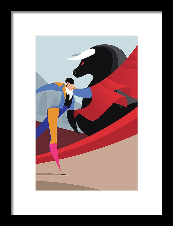 Stylized Art Deco Bullfighter, 1 of 3 Set - Framed Print from Wallasso - The Wall Art Superstore