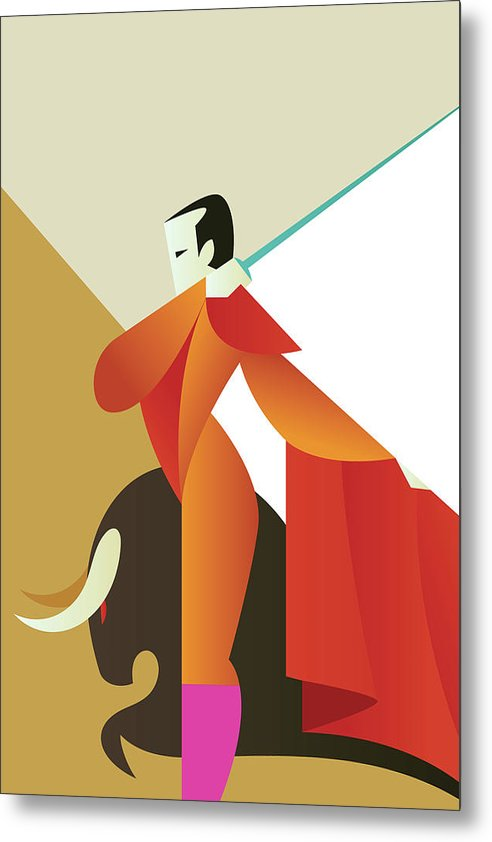 Stylized Art Deco Bullfighter, 2 of 3 Set - Metal Print from Wallasso - The Wall Art Superstore