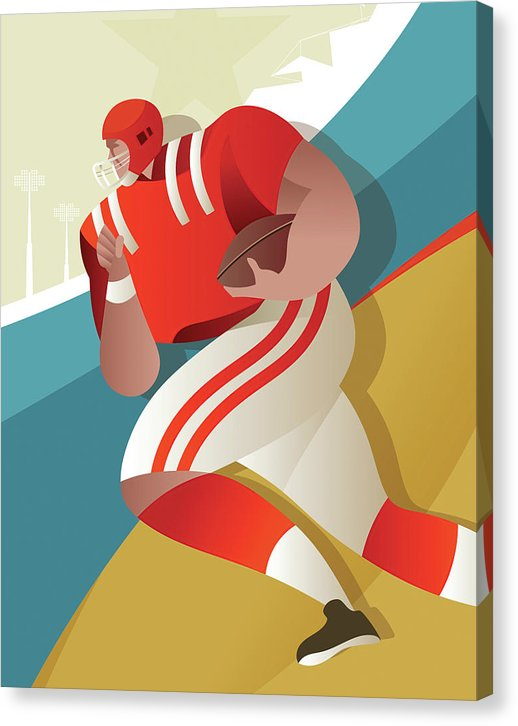 Stylized Football Player, 1 of 3 Set - Canvas Print from Wallasso - The Wall Art Superstore