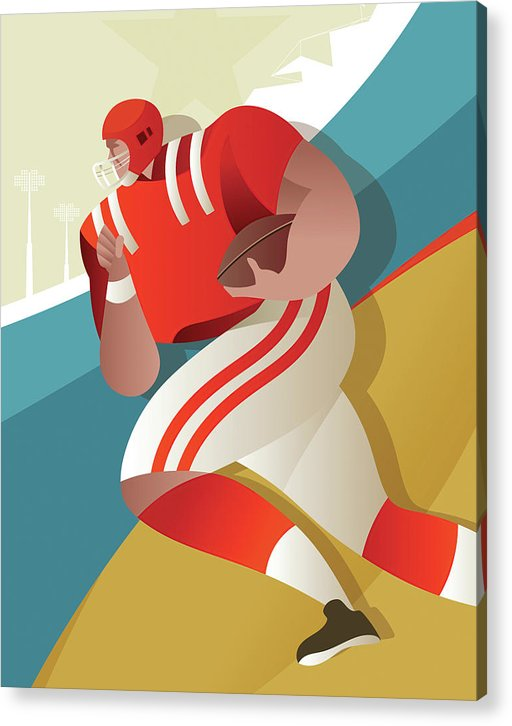 Stylized Football Player, 1 of 3 Set - Acrylic Print from Wallasso - The Wall Art Superstore