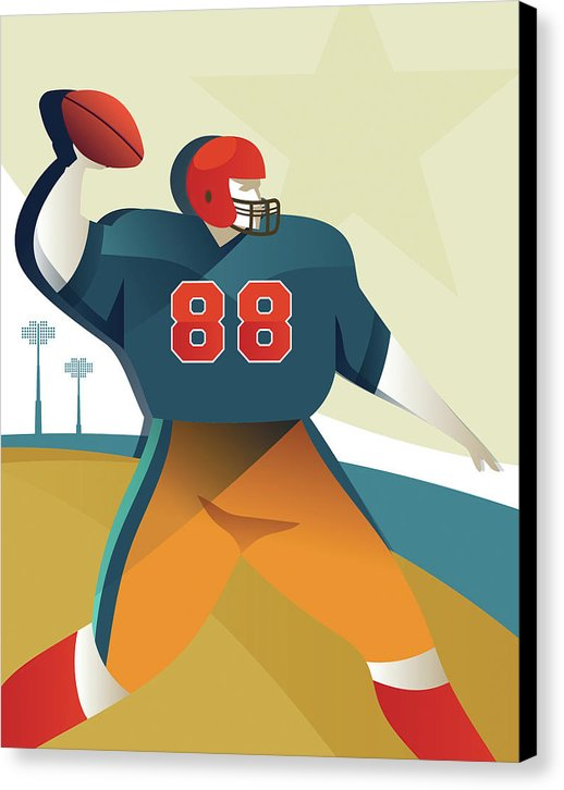 Stylized Football Player, 3 of 3 Set - Canvas Print from Wallasso - The Wall Art Superstore