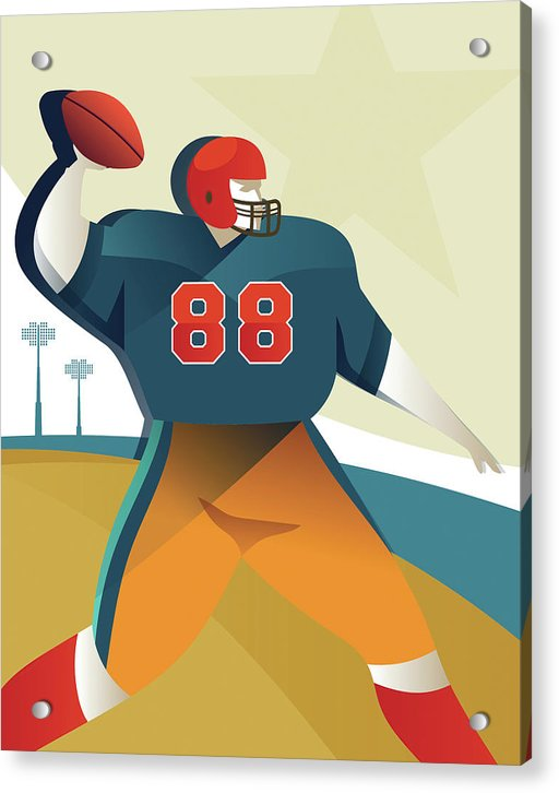 Stylized Football Player, 3 of 3 Set - Acrylic Print from Wallasso - The Wall Art Superstore