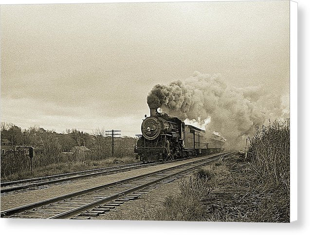 Stylized Locomotive Digital Art - Canvas Print from Wallasso - The Wall Art Superstore