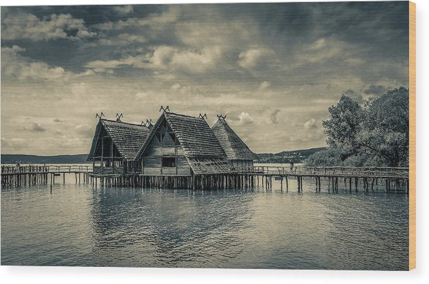 Stylized Stilt Houses With Thatched Roofs - Wood Print from Wallasso - The Wall Art Superstore