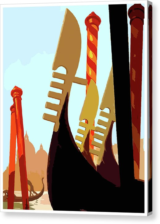 Stylized Venice Gondolas - Canvas Print from Wallasso - The Wall Art Superstore