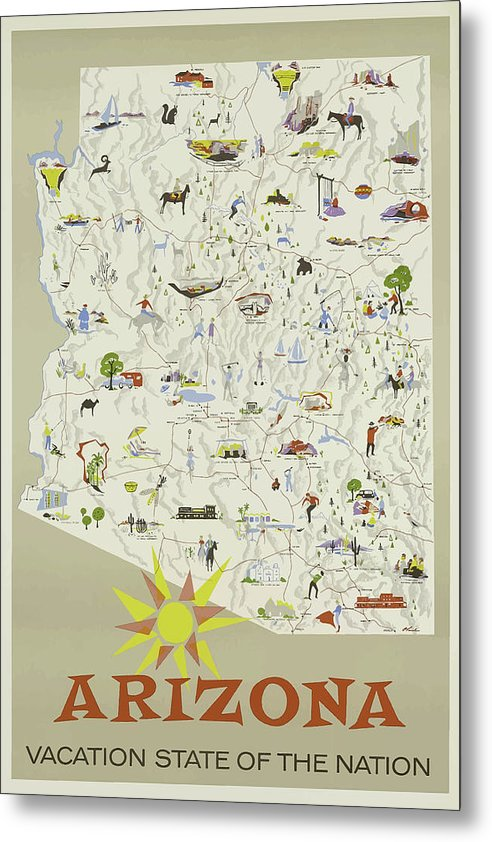 Stylized Vintage Arizona State Map Travel Poster - Metal Print from Wallasso - The Wall Art Superstore