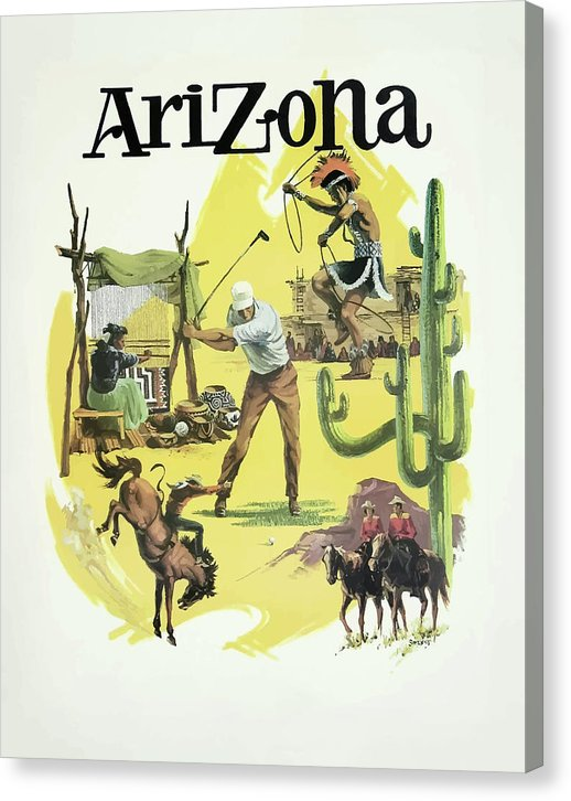 Stylized Vintage Arizona State Tourism Travel Poster - Canvas Print from Wallasso - The Wall Art Superstore