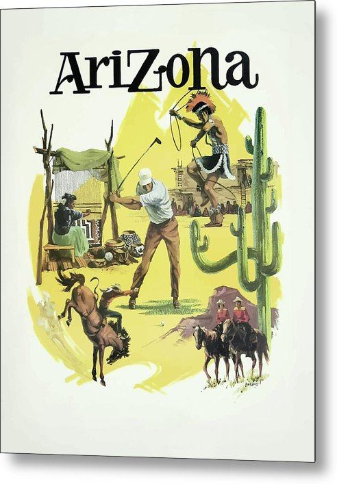 Stylized Vintage Arizona State Tourism Travel Poster - Metal Print from Wallasso - The Wall Art Superstore