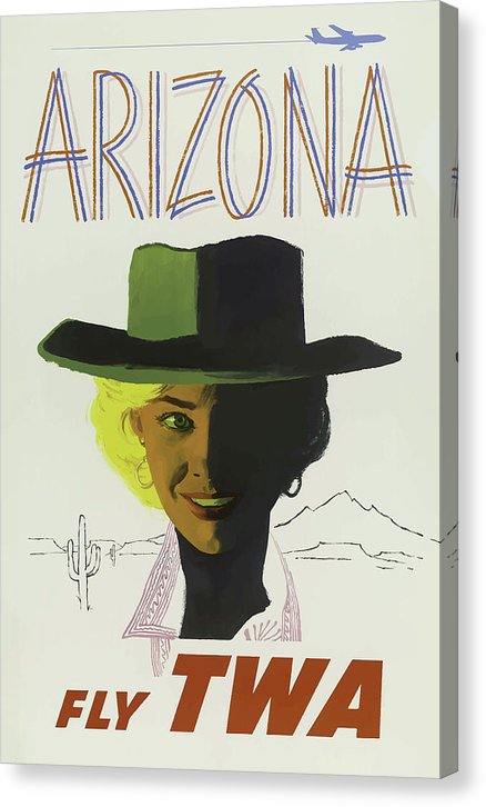 Stylized Vintage Arizona Fly TWA Cowgirl Travel Poster - Canvas Print from Wallasso - The Wall Art Superstore