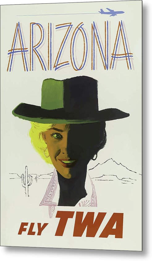 Stylized Vintage Arizona Fly TWA Cowgirl Travel Poster - Metal Print from Wallasso - The Wall Art Superstore