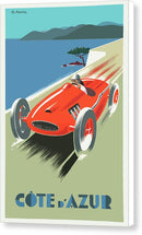 Stylized Vintage Cote D Azure Race Car Travel Poster - Canvas Print from Wallasso - The Wall Art Superstore