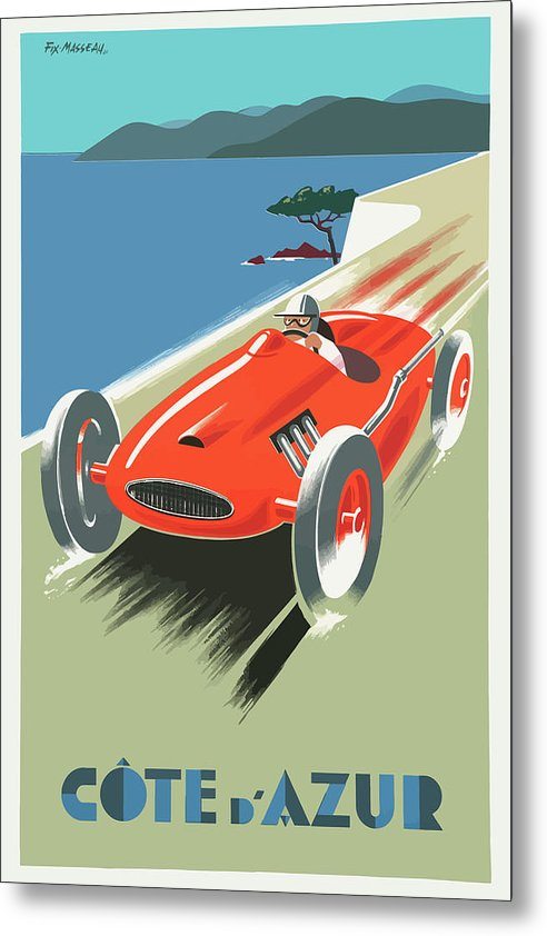 Stylized Vintage Cote D Azure Race Car Travel Poster - Metal Print from Wallasso - The Wall Art Superstore