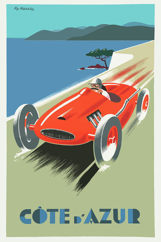 Stylized Vintage Cote D Azure Race Car Travel Poster - Art Print from Wallasso - The Wall Art Superstore