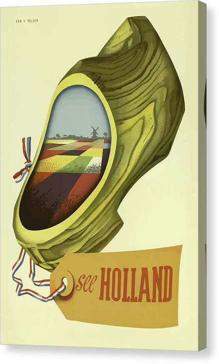 Stylized Vintage Holland Travel Poster - Canvas Print from Wallasso - The Wall Art Superstore