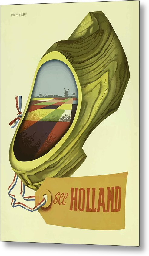 Stylized Vintage Holland Travel Poster - Metal Print from Wallasso - The Wall Art Superstore