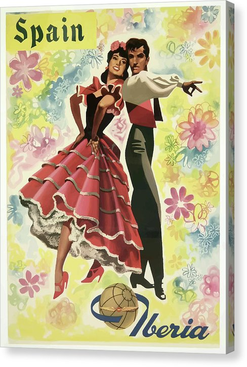 Stylized Vintage Iberia Spain Flamenco Dancers Travel Poster - Canvas Print from Wallasso - The Wall Art Superstore
