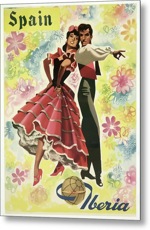Stylized Vintage Iberia Spain Flamenco Dancers Travel Poster - Metal Print from Wallasso - The Wall Art Superstore