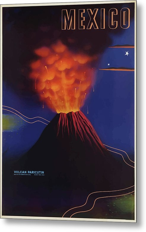 Stylized Vintage Mexico Paricutin Volcano Travel Poster - Metal Print from Wallasso - The Wall Art Superstore