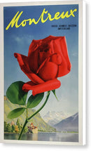 Stylized Vintage Montreux Switzerland Rose Travel Poster - Canvas Print from Wallasso - The Wall Art Superstore