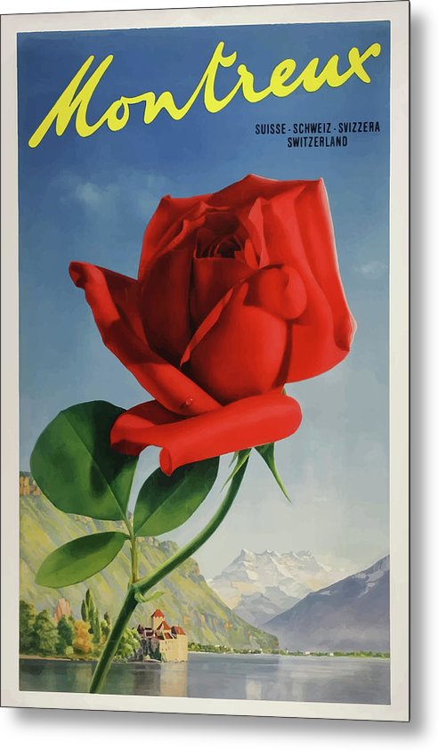 Stylized Vintage Montreux Switzerland Rose Travel Poster - Metal Print from Wallasso - The Wall Art Superstore