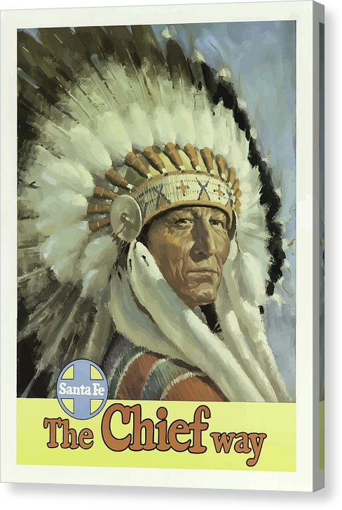 Stylized Vintage Santa Fe New Mexico Indian Chief Travel Poster - Canvas Print from Wallasso - The Wall Art Superstore