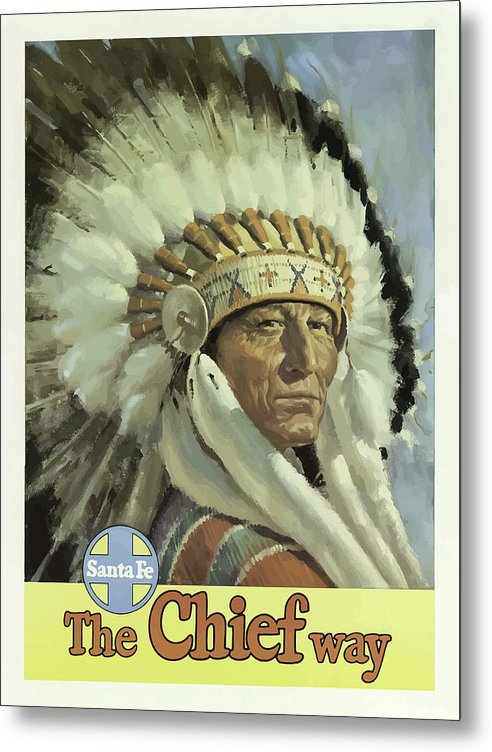 Stylized Vintage Santa Fe New Mexico Indian Chief Travel Poster - Metal Print from Wallasso - The Wall Art Superstore