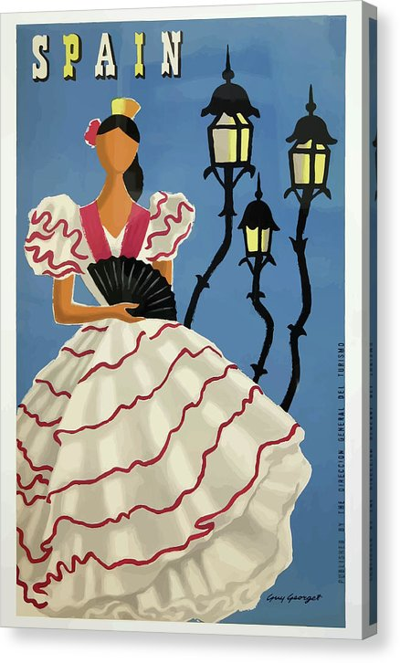 Stylized Vintage Spain Flamenco Woman Travel Poster - Canvas Print from Wallasso - The Wall Art Superstore