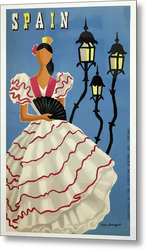 Stylized Vintage Spain Flamenco Woman Travel Poster - Metal Print from Wallasso - The Wall Art Superstore