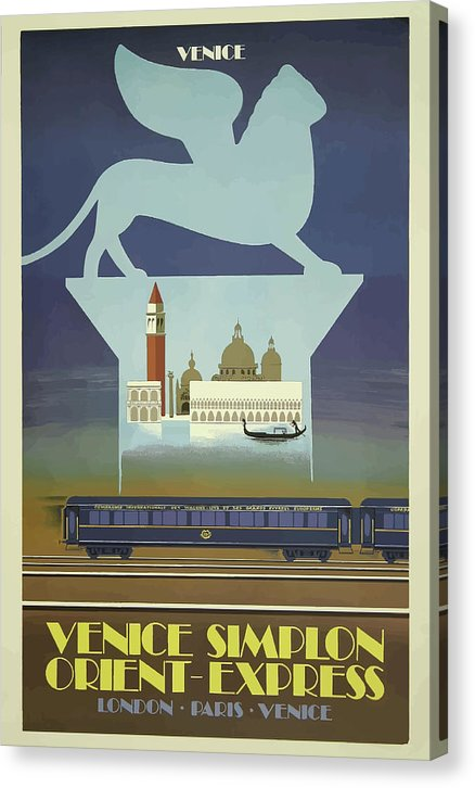 Stylized Vintage Venice Orient Express Train Travel Poster - Canvas Print from Wallasso - The Wall Art Superstore