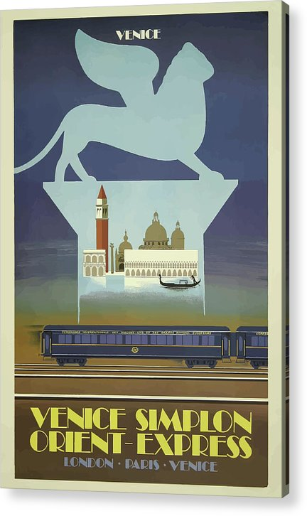 Stylized Vintage Venice Orient Express Train Travel Poster - Acrylic Print from Wallasso - The Wall Art Superstore