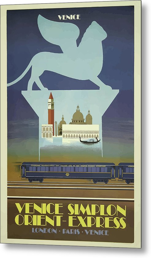 Stylized Vintage Venice Orient Express Train Travel Poster - Metal Print from Wallasso - The Wall Art Superstore