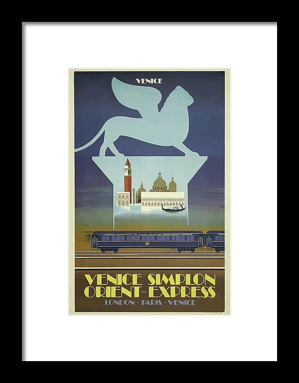 Stylized Vintage Venice Orient Express Train Travel Poster - Framed Print from Wallasso - The Wall Art Superstore