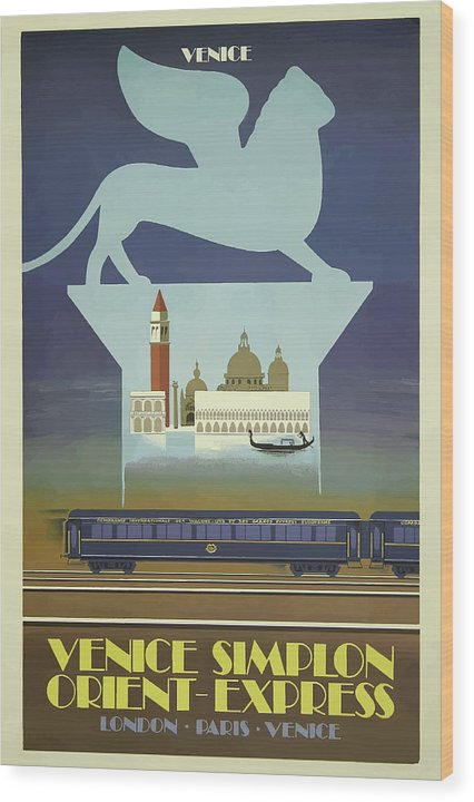 Stylized Vintage Venice Orient Express Train Travel Poster - Wood Print from Wallasso - The Wall Art Superstore