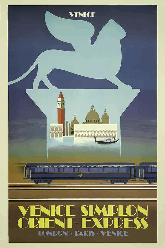 Stylized Vintage Venice Orient Express Train Travel Poster - Art Print from Wallasso - The Wall Art Superstore