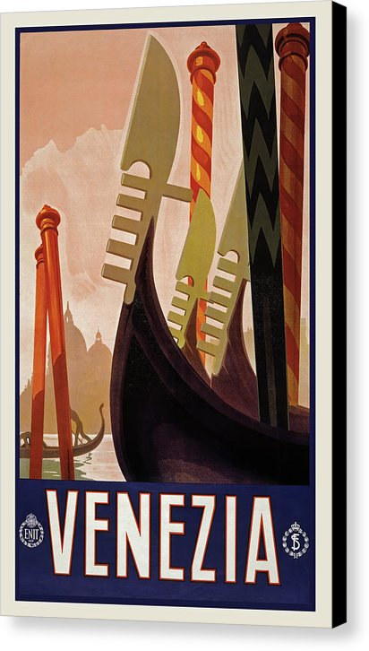 Stylized Vintage Venice Travel Poster - Canvas Print from Wallasso - The Wall Art Superstore