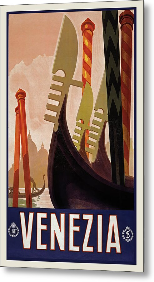 Stylized Vintage Venice Travel Poster - Metal Print from Wallasso - The Wall Art Superstore