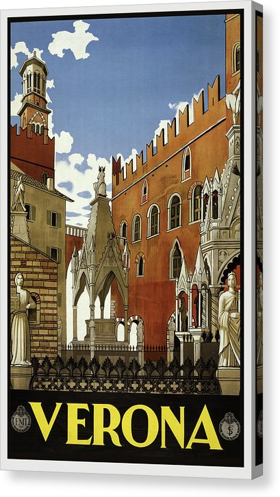 Stylized Vintage Verona Travel Poster - Canvas Print from Wallasso - The Wall Art Superstore